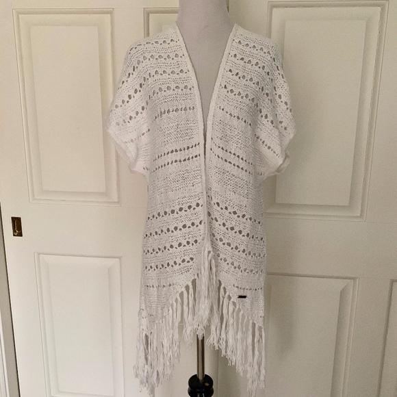 Hollister Sweaters White Crochet Lace Short Sleeve Kimono Cardigan
